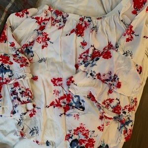 Ivory off the shoulder top with floral detail